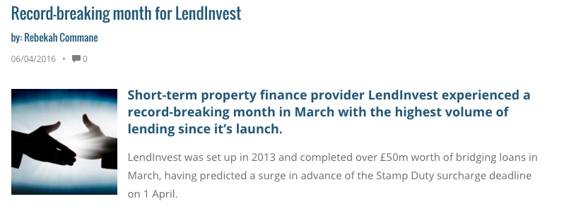 Mortgage Solutions record breaking month for LendInvest